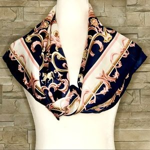 Navy and pink horse motif scarf